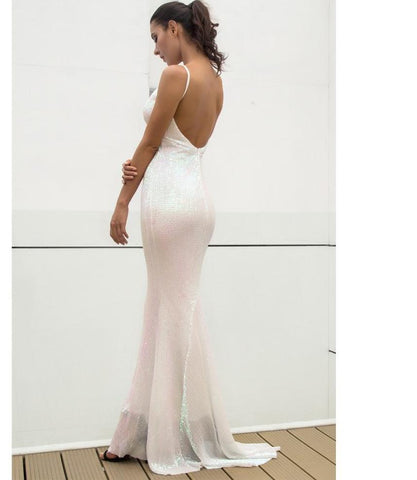 White Elastic Sequin V Collar Exposed Back Maxi Dress  LAVELIQ