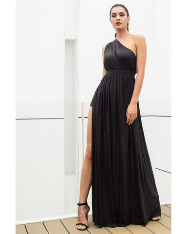 Sexy Black One-Shoulder Cut Out Type A Flash Fabric Long Dress  LAVELIQ