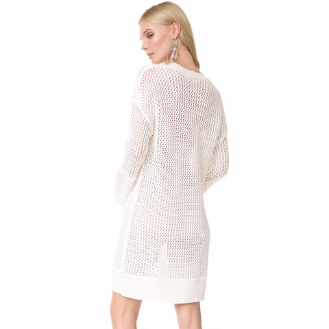 Solid White Long Sweaters LAVELIQ
