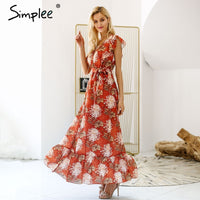 V neck ruffle boho summer dress women Hollow out sash tie up long dress Sleeveless beach maxi dress casual vestidos