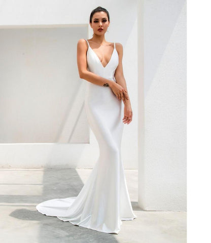 Deep V Neck Open Back Fishtail White Dress Laveliq