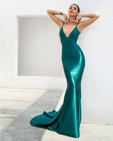 Sexy Green Deep V-Neck Open Back Slim Flash Material Maxi Dress  LAVELIQ