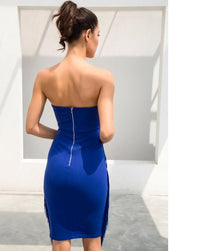 Blue V-Neck Trim Decorated Slim Party Dress  LAVELIQ - Laveliqus