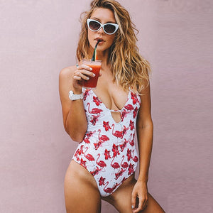 Flamingos Pattern One Piece Swimsuit
