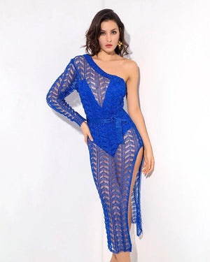 Blue Cutouts Single Room Dresses LAVELIQ - Laveliqus