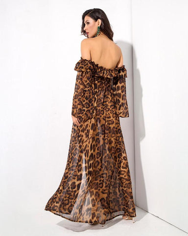 Leopard Decorative Speaker Sleeves Maxi Dress LAVELIQ