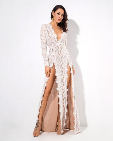 Cut Out Lace Long Sleeve Maxi Dress  LAVELIQ