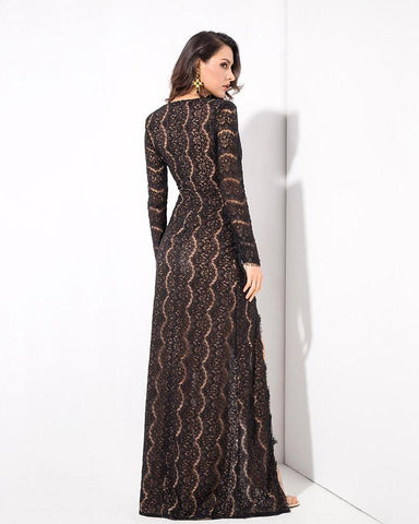 V Collar Cut Out Lace Long Sleeve Maxi Dress  LAVELIQ
