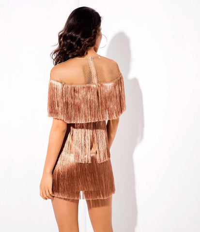 Round Neck Fringe Mini Dress LAVELIQ