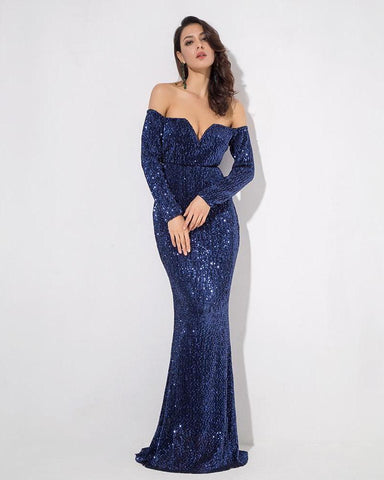 V Collar Long Sleeve Elastic Sequin Material Navy Long Dress  LAVELIQ