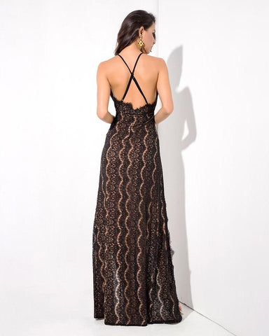 V-Neck Open Back Cut Out Lace Maxi Dress  LAVELIQ