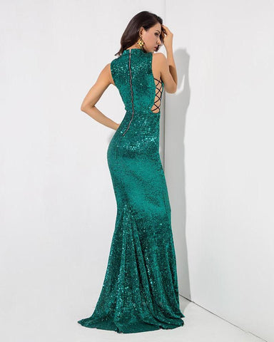 Fishtail Slim Elastic Sequins Long Dress LAVELIQ