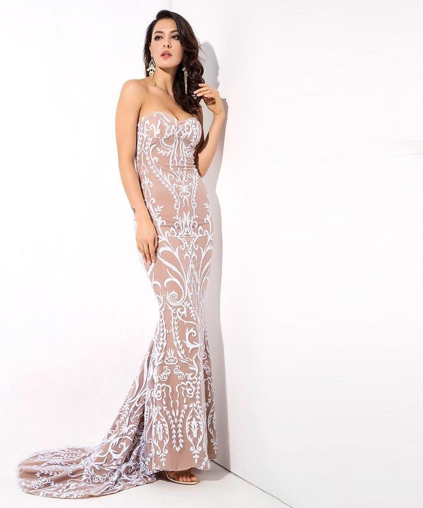 White Strapless Fishtails Glitter Glued Material Long Dress LAVELIQ