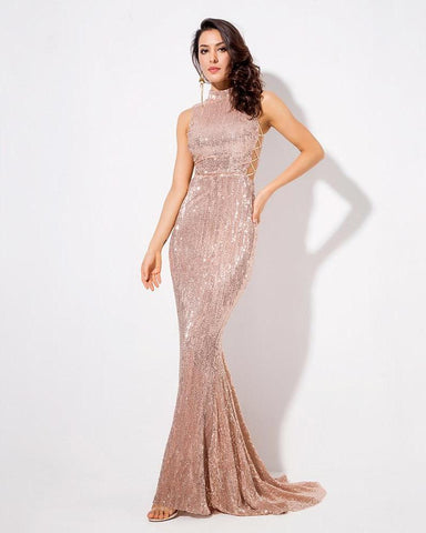 Cut Out Fishtail Slim Elastic Sequins Long Dress LAVELIQ