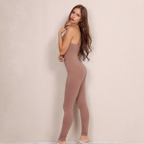 Solid Fashion Spaghetti V Neck Sexy Casual Jumpsuits LAVELIQ