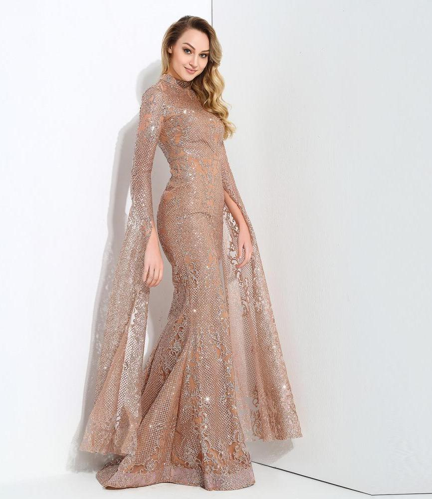 Rose Gold Long Angel Sleeves Sequin Fish Mermaid Tail Maxi Dress Long Dress Gown