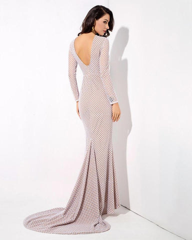 Open Back Fish Tail Shape Lattice Beads Long Dress  LAVELIQ