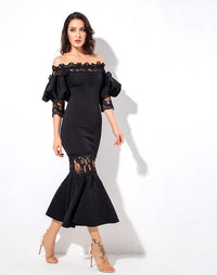 Black Drop Shoulder Lace Panel Lantern Sleeve  Party Dress LAVELIQ