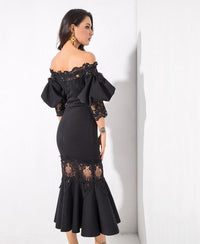Black Drop Shoulder Lace Panel Lantern Sleeve  Party Dress LAVELIQ - Laveliqus