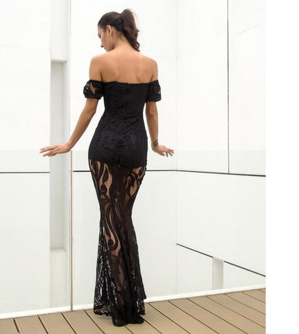 Fishtail Style Long Dress Black LAVELIQ