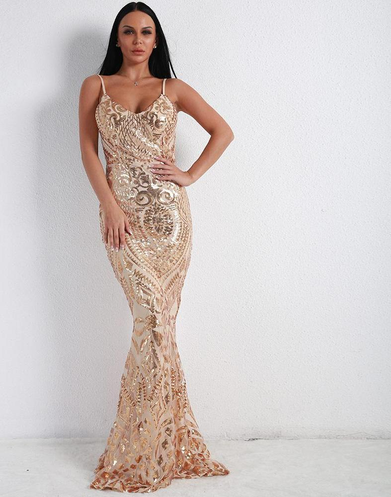 Sequin Fishtail Long Maxi Dress