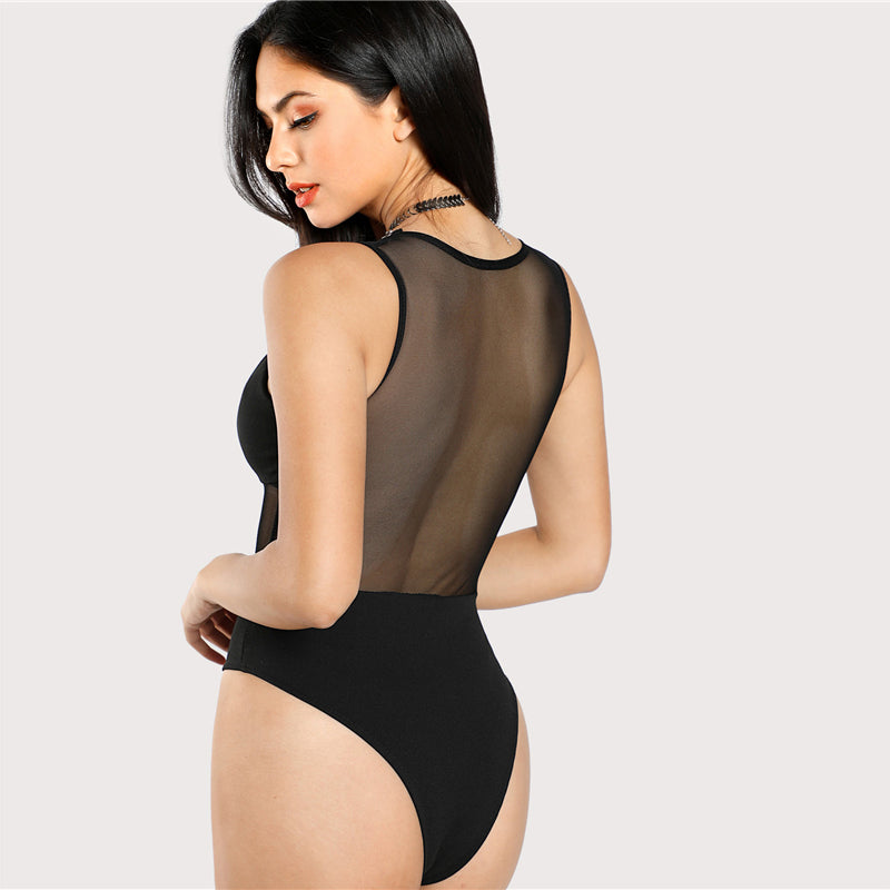 mesh insert v neck bodysuit top