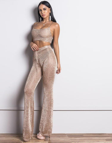Women Sexy Gold Thread Off Shoulder Two Pcs Jumpsuit