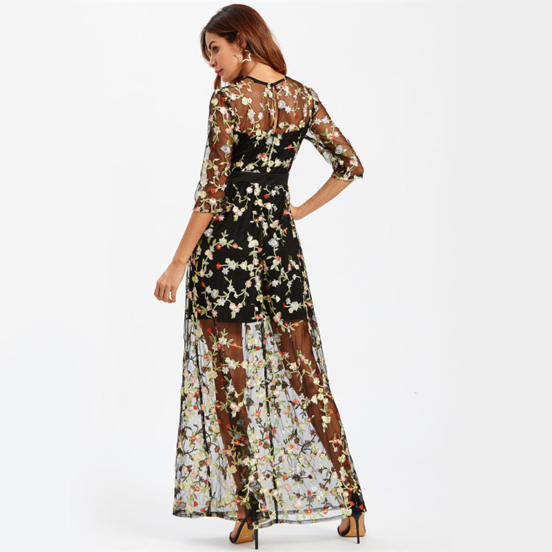 Botanical Embroidery Maxi Dress LAVELIQ