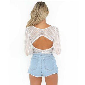 Backless Long Sleeve Lace Bodysuit
