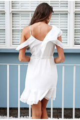 Ruffle Cold Shoulder White Dress  LAVELIQ - Laveliqus