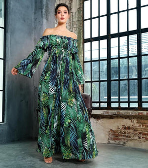 Collar Tie Rope Leaf Print Cut Out  Sleeve Long dress - Laveliqus