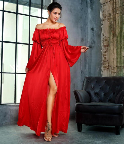 Long Sleeve Off Shoulder Maxi Dress Laveliq
