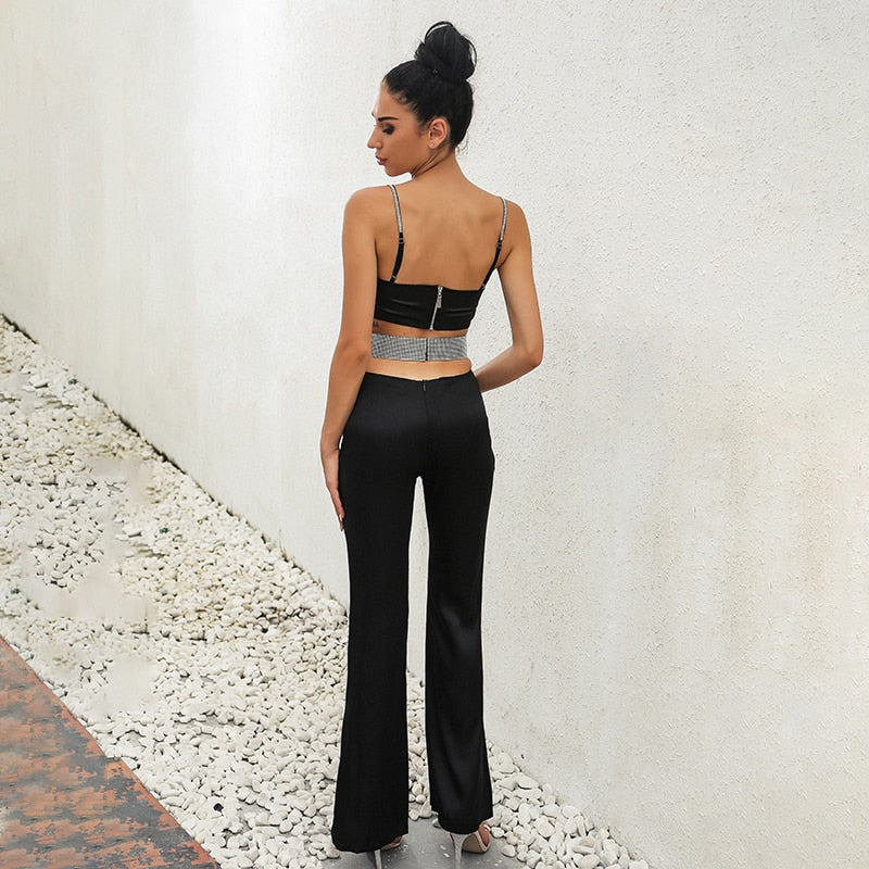 Strapless Skinny Crop Top And Long Pencil Pants Set - Laveliqus