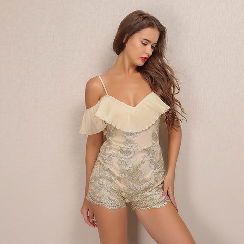 Gold Ruffles Fashion Sexy Summer V Neck Party Rompers LAVELIQ