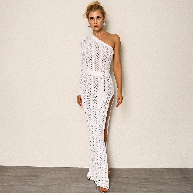 Amazing Knitted One Shoulder Maxi Dress - Laveliqus