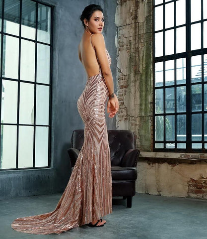 Gold Deep V Neck Open Back Sequin Long Maxi Dress LAVELIQ