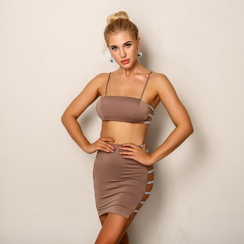 Elegant Cropped Top And Skirt Women Set - Laveliqus