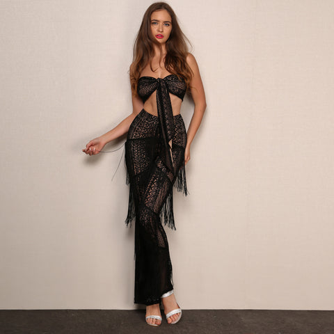 Hollow Out Fringes Tube Top Plus Long Pants Jumpsuit  LAVELIQ