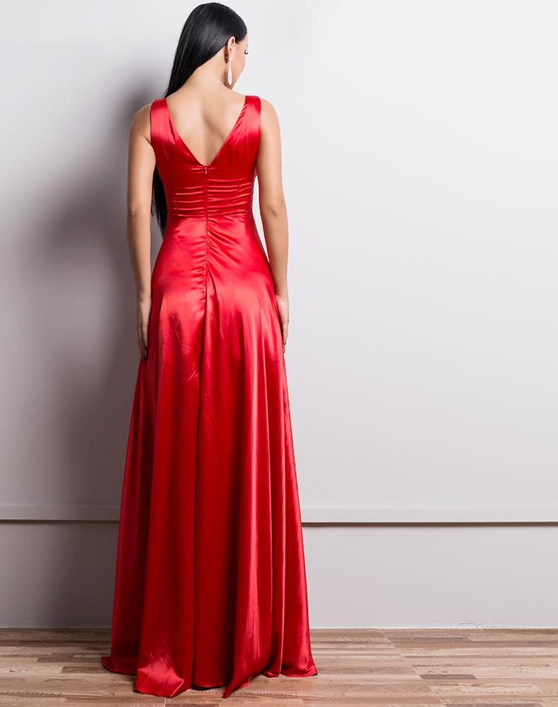 Red V Neck Maxi Dress Backless Gown