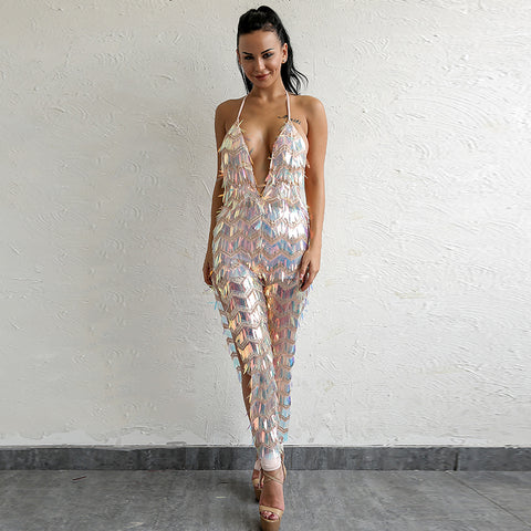 Backless Sexy Sequin Jumpsuit LAVELIQ