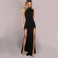 Black Mesh Back Maxi Party Dress Backless - Laveliqus