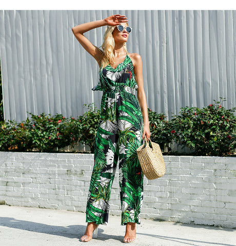Ruffle Leaf Print Sexy Jumpsuit