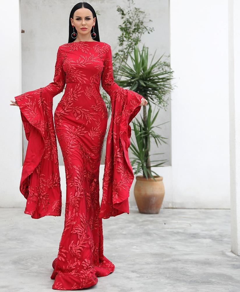 Long Oversized Bell Sleeve Long Maxi Dress - Laveliqus