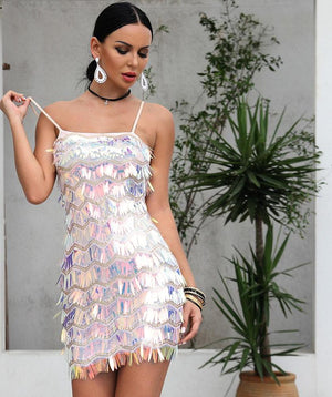Sequin Shiny Tassel Fringe Mini Dress