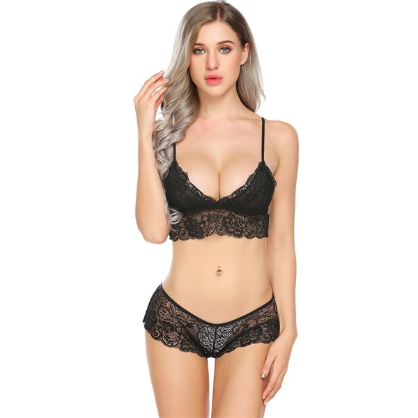 Sexy Lace Lingerie Set Women Bra Top and Thongs - Laveliqus