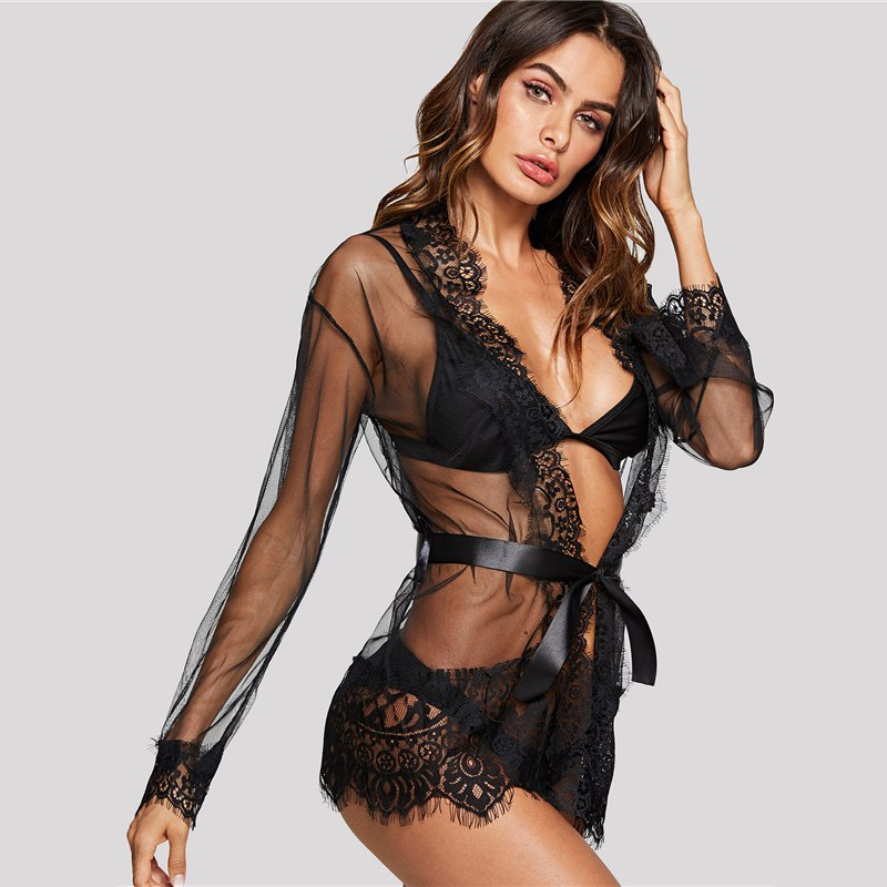 Eyelash Lace Trim Robe With Thong LAVELIQ - Laveliqus