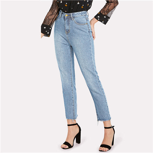 Blue Casual Jeans Denim Pants High Waist - Laveliqus