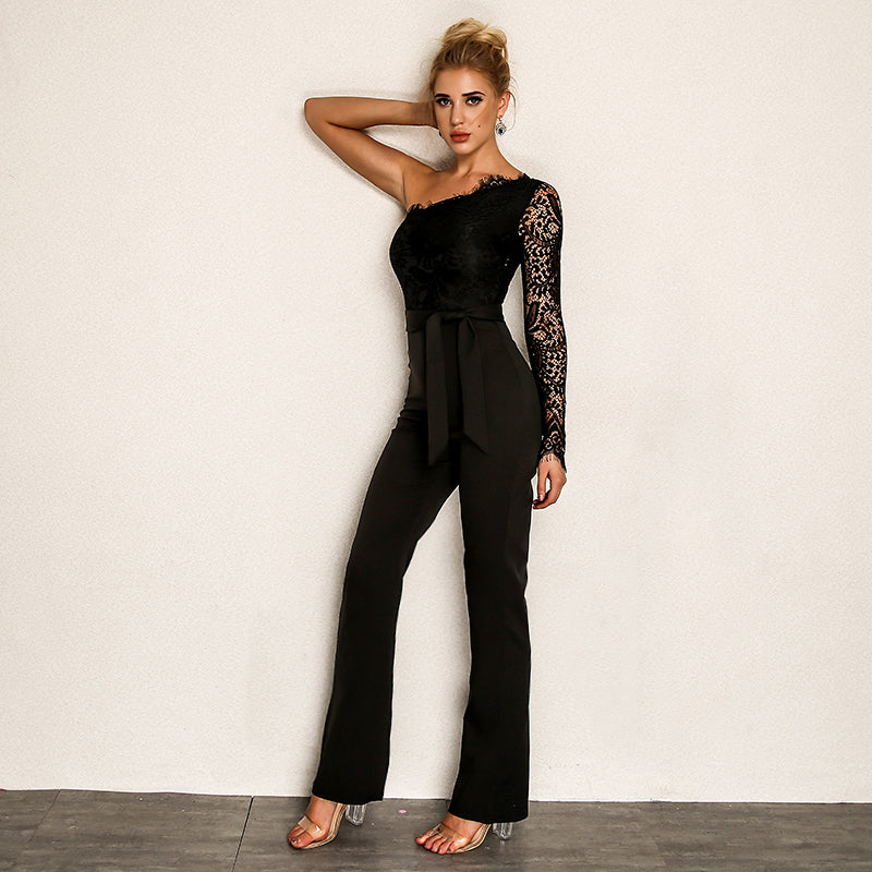 Sexy Boot Cut PartyElegant Print Lace Jumpsuits