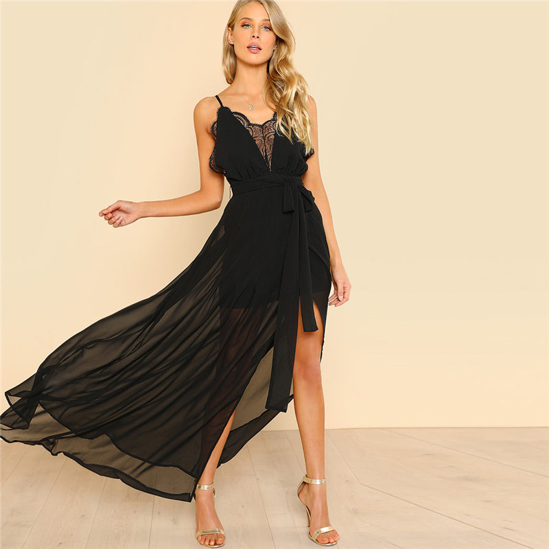 Black Backless Lace Plunge V Neck Slit Summer Dress LAVELIQ b88786d28