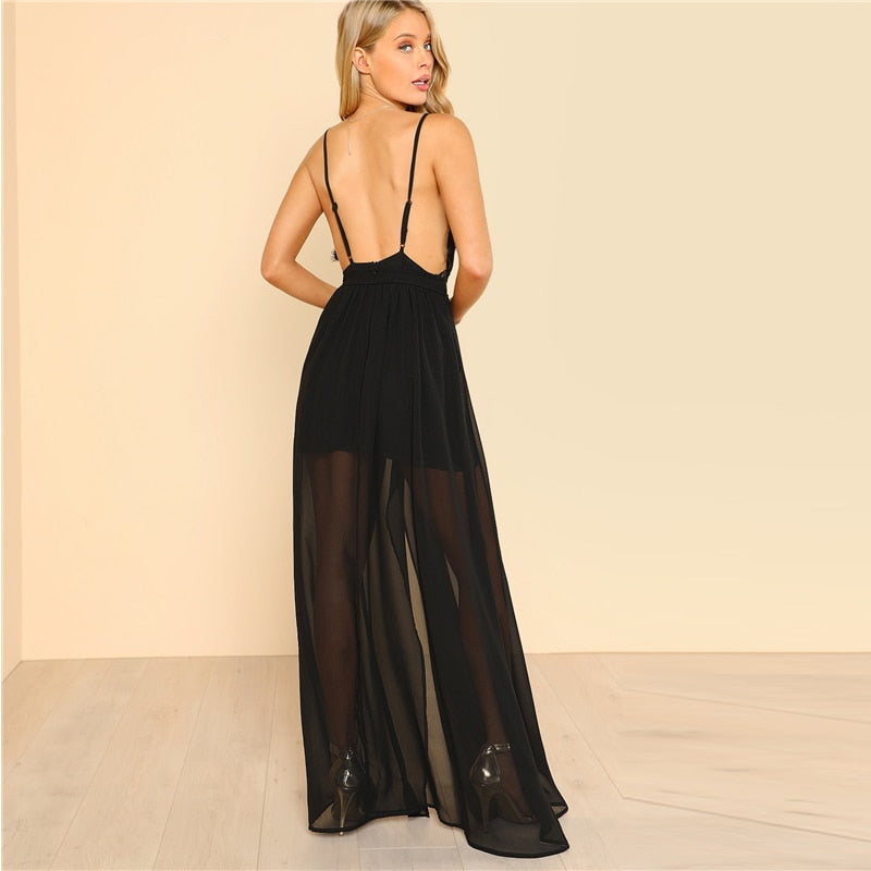 Black Backless Lace Plunge V Neck Slit Summer Dress LAVELIQ - Laveliqus
